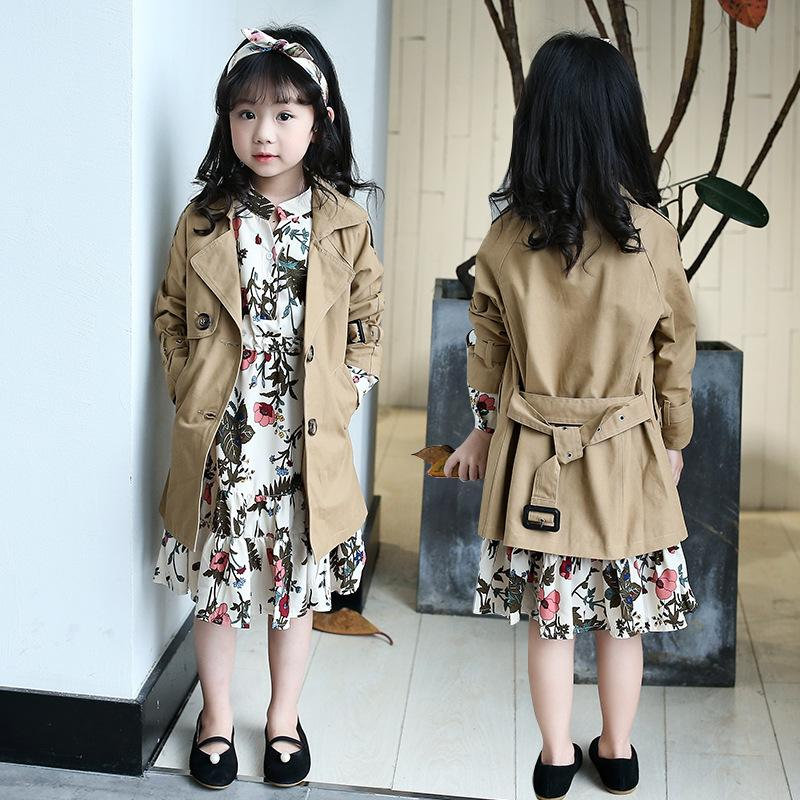 b3f99dab7432 2018 Autumn Trench Coat For Girls Clothes Children Clothing Long ...