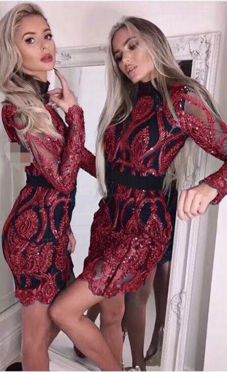 Women New Fashion Sexy Long Sleeve Sequins Lace Red Green Bandage Dress  Bodycon Party Dress UK 2019 From Yyliang fa3e18967