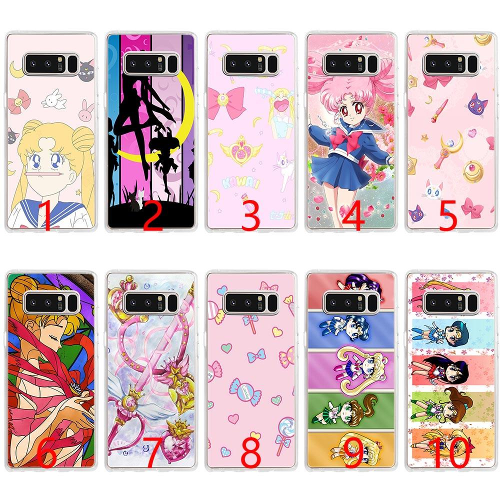 top fashion b2df9 2c759 Sailor Moon Crystal Cute Version funny Soft Silicone Phone Case for Samsung  Note 9 8 S7 Edge S8 S9 Plus