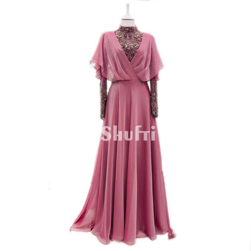 Real Sample Vestido de Madrin 2018 Mother of Bride Dresses Plus Size Long Sleeves Muslim Chiffon Beading Wedding Guest Dresses