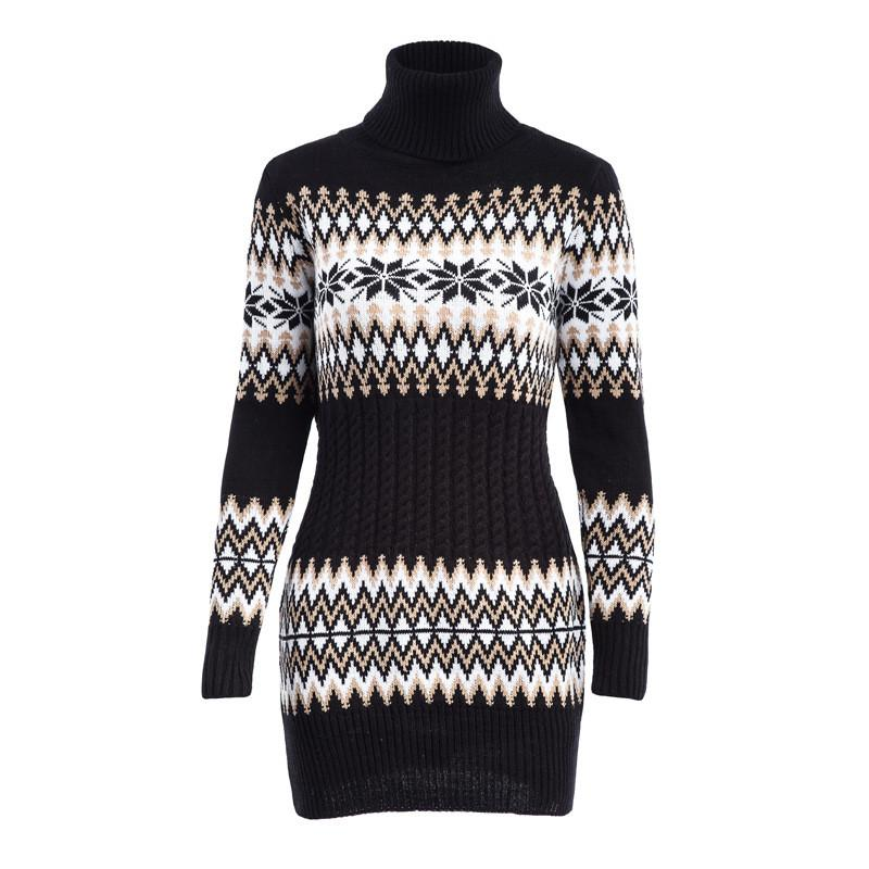 fcd19e4ff0311 2019 WKOUD 2018 Winter Turtleneck Sweaters Dresses Women Snowflake Printed  Knitted Pullovers Long Sleeve Sweaters Loose M8066 From Smotthwatch