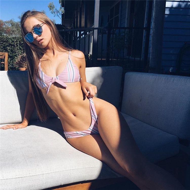 94b90a32ee 2018 Sexy Patchwork Bikini Women's Striped Swimsuit Lady Bandage ...
