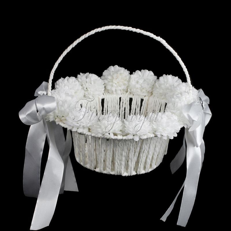 Белый свадебный цветок девушка корзина с жемчугом ленты лук горный хрусталь цветы свадьба пользу украшения хранения конфеты корзина