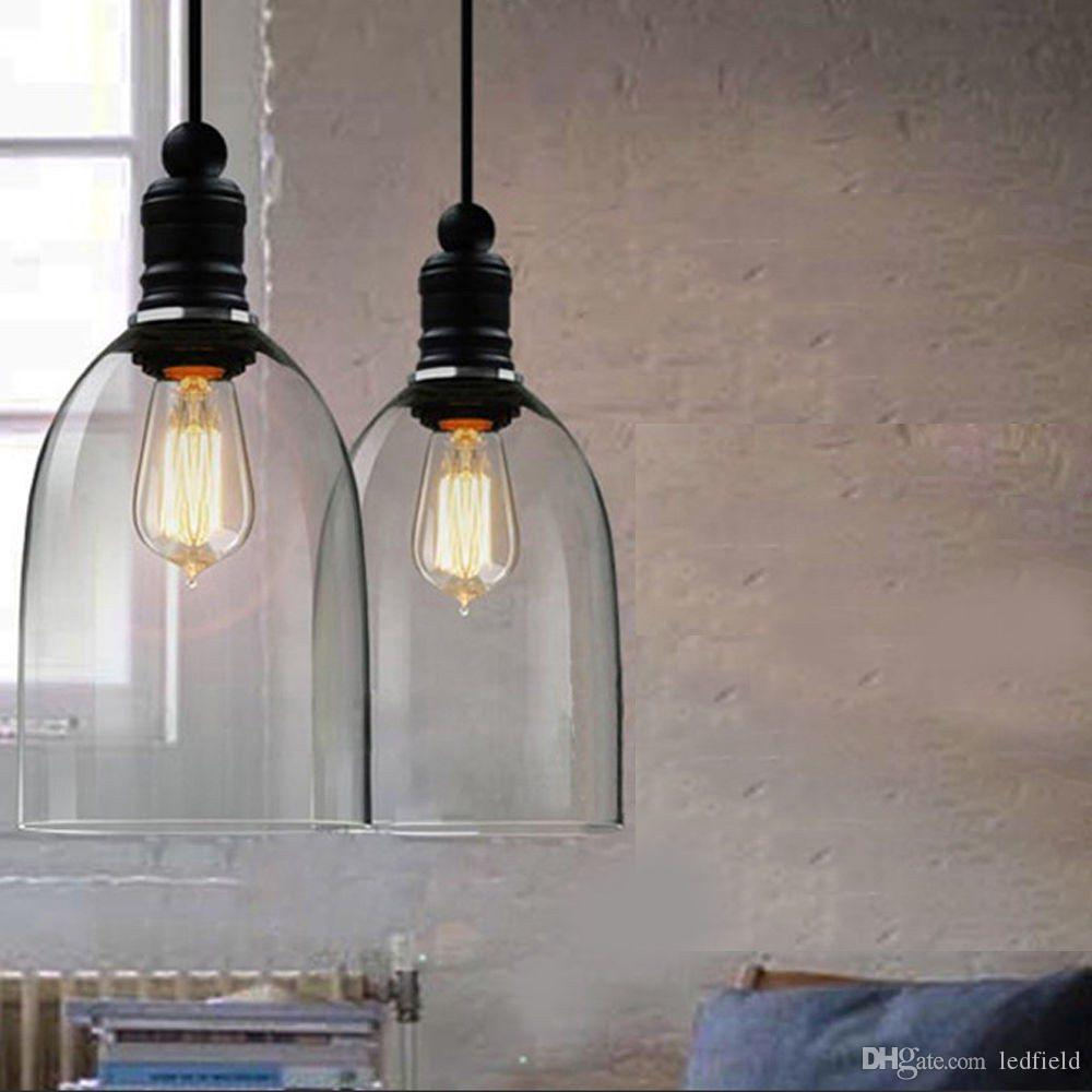 diy pendant lighting. 110v 240v Retro Industrial Diy Ceiling Lamp Light Clear Bell Glass Pendant Lighting Home Decor Fixtures Edison Bulb E27 Chandelier Lights