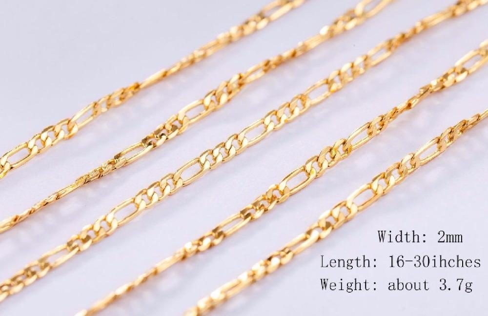 2MM Slim Women Men 585 Gold Color Necklace Colar de Ouro figaro Chains 16  18 20 22 24 Factory Jewelry 18 K Stamp