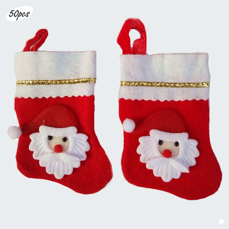 50pcs Lot 5 Inch Mini Felt Cartoon Christmas Stocking Kids Xmas Gift Bags Reinbeer Snowman Santa Claus Children Candy Bags