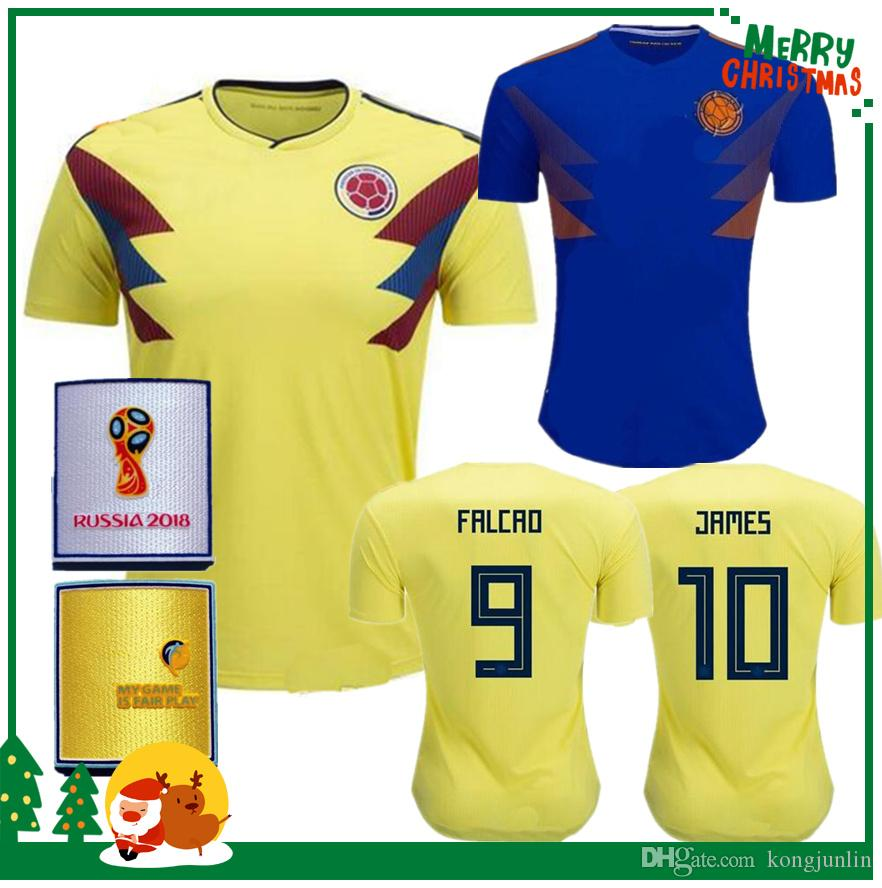 2018 Colombia Soccer Jerseys Russia World Cup Jersey 10 JAMES 9 FALCAO 11  CUADRAD 8 AGUILAR 1f602fad3