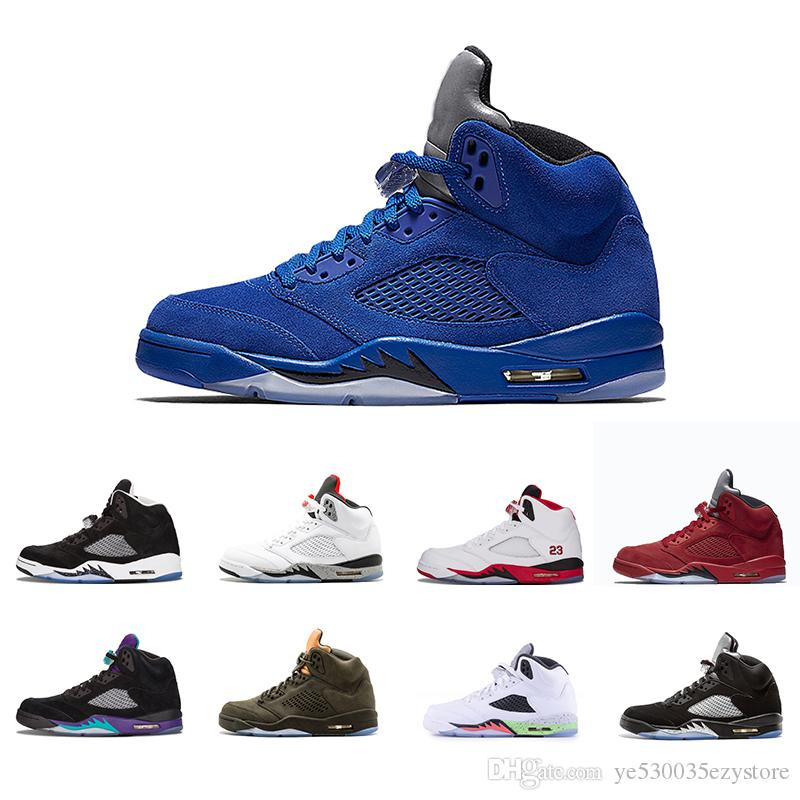 newest 42bd3 71ca2 Compre Nike Air Jordan Aj5 Hombre 5 5s Zapatillas De Baloncesto Azul Rojo  Gamuza Olímpico Metálico Lengua Dorada Camo Negro Atasco De Espacio Rojo  Fuego ...