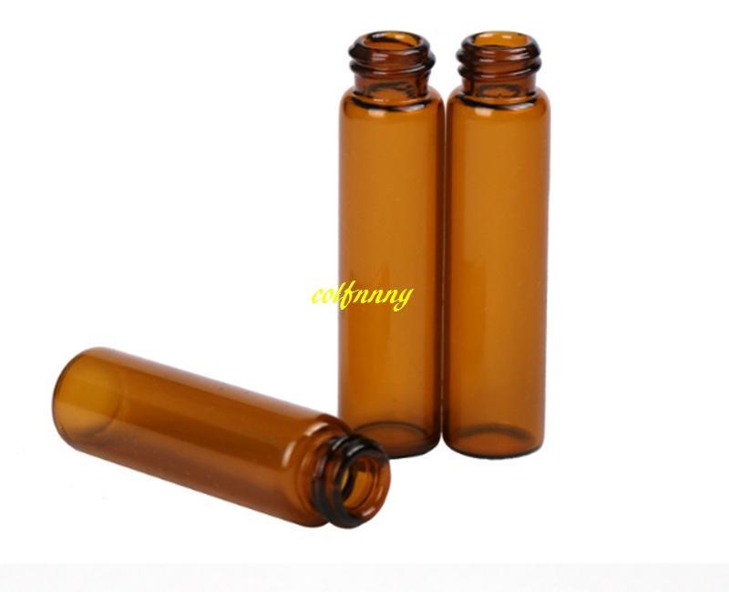 200 قطعة / الوحدة 5 ملليلتر العنبر زجاج رذاذ زجاجة 5 ملليلتر البني العطور إعادة الملء زجاجات العطور مع غطاء بلاستيكي 14x76 ملليمتر