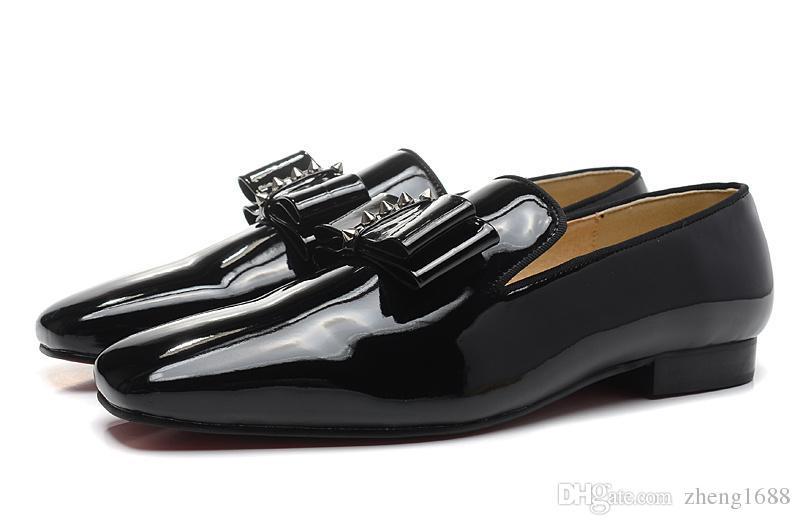 With box-LUXURY DESIGNER mafias bas rouge pour hommes, Dandelion Tassel Flat BLACK PATENT LEATHER Chaussures de mariage Chaussures de mariée