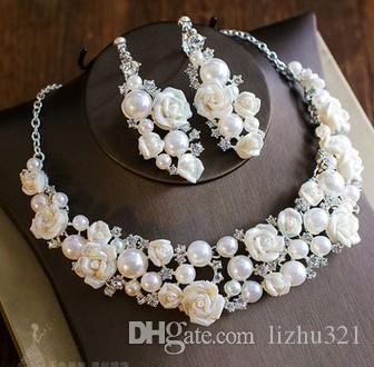 high quality low price wonderful diamond crystal wedding pearl set necklace earings (22.9)fgfrtert