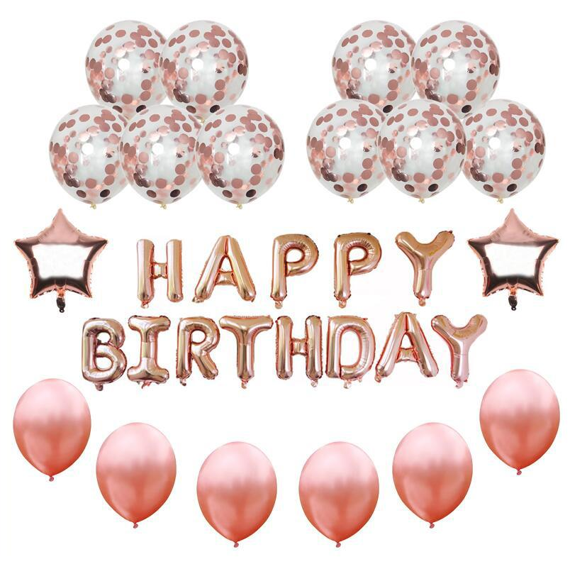 16inch Happy Birthday Banner Rose Gold Confetti Balloons Foil Star Letter Balloon Decoration Helium Decor Online With 2796 Piece On
