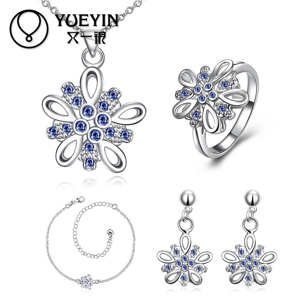 Fashion Silver Plated Rhinestone Crystal Jewelry Bridal Wedding Jewelry Sets For Women