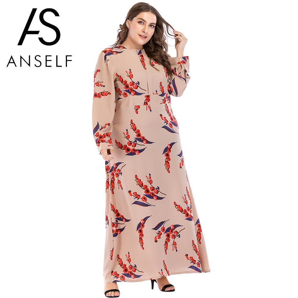 65e9fe02e 2019 Women Maxi Long Dress Plus Size Dress Print O Neck Long Sleeve Casual  Loose Beach Boho Summer 3XL 4XL 5XL 6XL 7XL Khaki From Hongkonglady