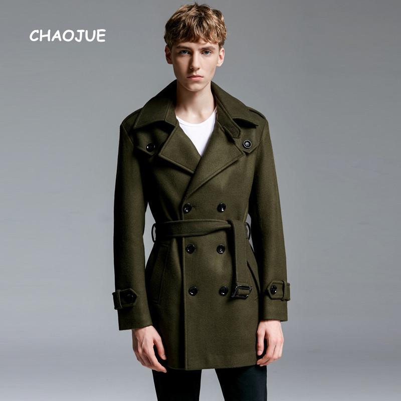 Laine Marque Manteau Style Lâche Pour Acheter Hommes Chaojue Business Hiver 2018 Europe Britannique Dernière Vert Vêtements Armée Man Sortie De w1qIY5IO