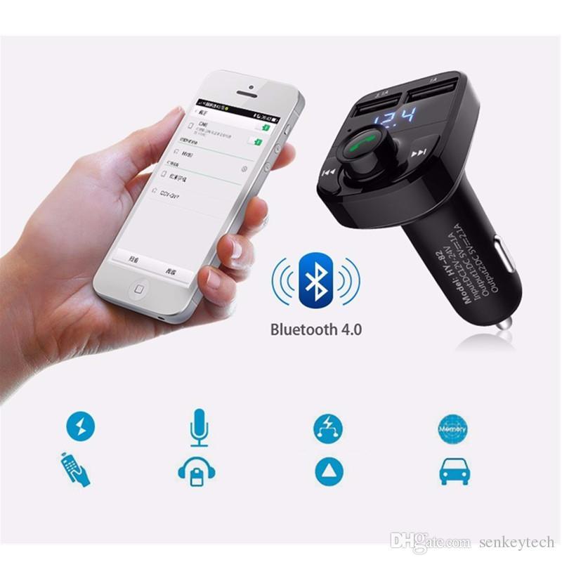 핸즈프리 자동차 충전기 블루투스 FM 송신기 음악 어댑터 3.1A 듀얼 USB 포트 호환 애플 아이폰, 삼성 갤럭시, LG 전자