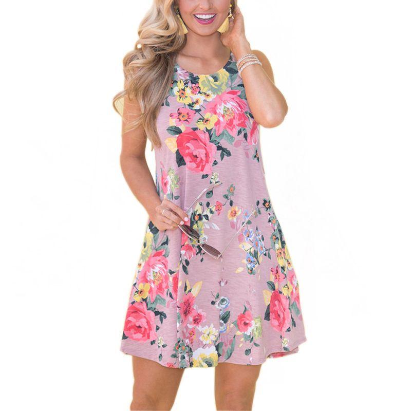 Women Dresses A-line Sleeveless Pockets Mini Beach Dresses Plus Size O-neck  2019 New Summer Printed Dress Casual Sundress Online with  38.64 Piece on  ... cbe5cd334ec7