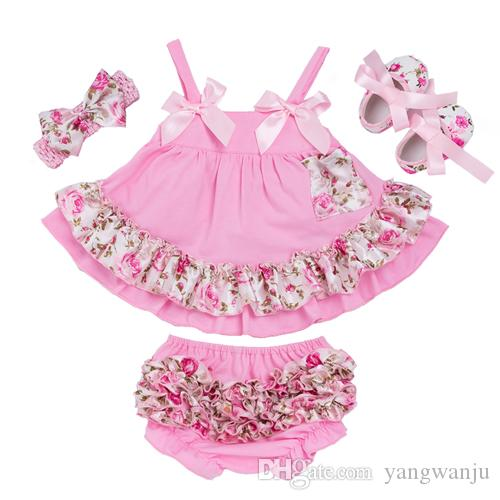 a290e2d2024b 2019 Summer Style Baby Swing Top Baby Girls Clothing Set Infant Ruffle  Outfits Bloomer Headband Newborn Girl Clothes Sets From Yangwanju