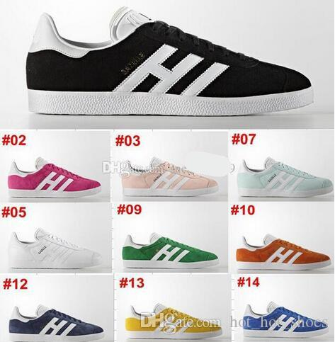new arrival 87e52 60ec5 2019 2018 Durable Men Women Suede Gazelle Shoes Racer Black White Shoes Red  Grey Orange Lightweght Breathable Walking Lovers Shoes Size 36 44 From ...
