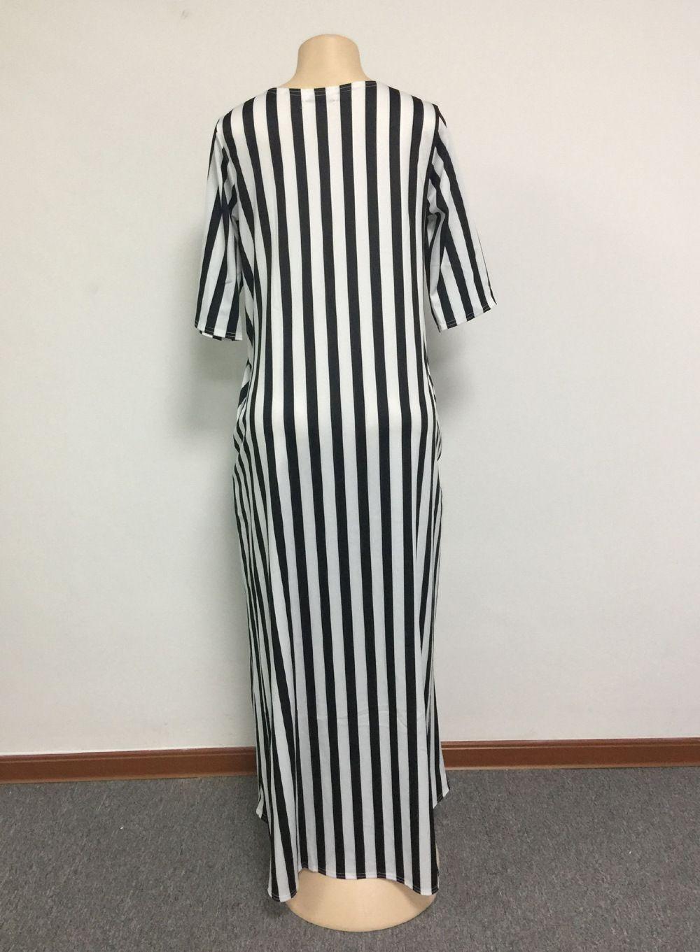 2018 mode femmes noir et blanc rayures maxi robe conception de vêtements traditionnels africains impression Dashiki beau cou robes africaines pour les femmes
