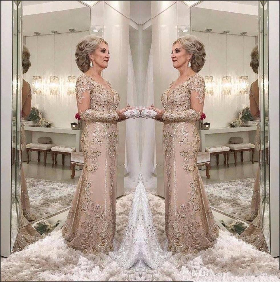 2018 Luxury Mother Of The Bride Dresses V Neck Long