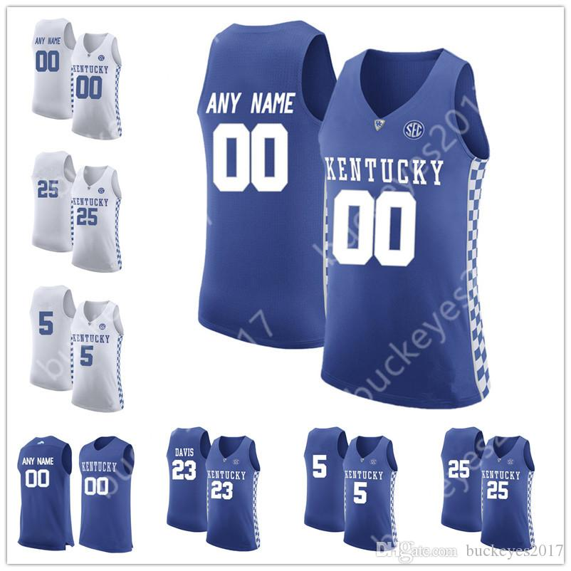 38e98b23f 2019 Custom Kentucky Wildcats College Basketball Jerseys Blue White  Personalized Stitched Any Name Any Number  5 Kevin Knox 25 PJ Washington  From ...