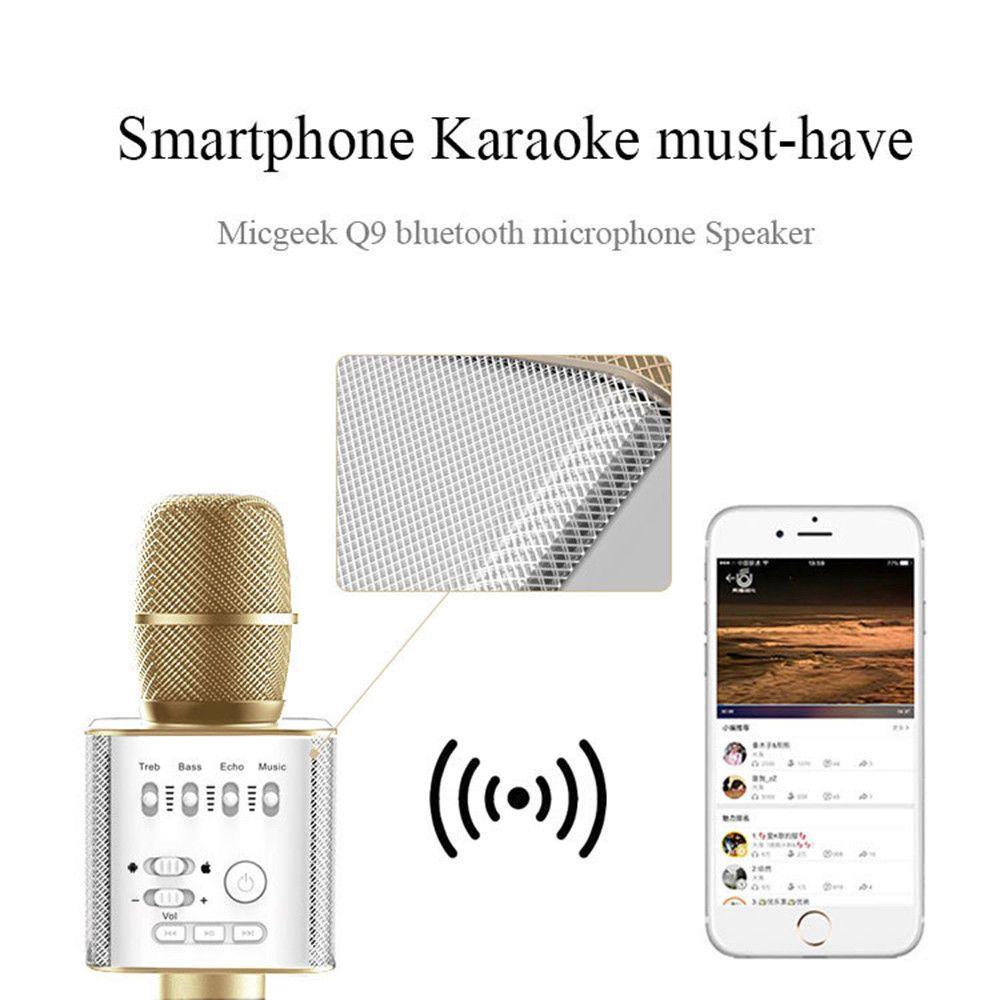 Q9 04 Bluetooth sans fil Karaoke Microphone haut-parleur 2 en 1 portable Chantez Enregistrement lecteur portable KTV pour iOS Android