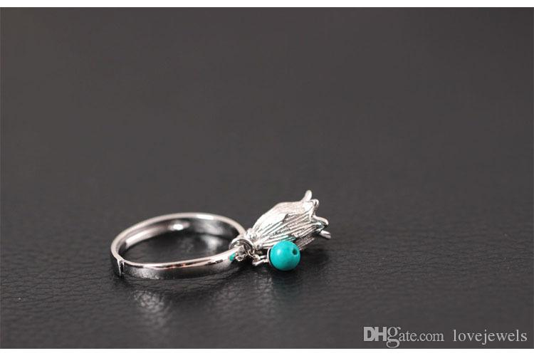Charm Creative style Chinese wind vintage hollowed-out flowers s925 sterling silver ring female natural turquoise stone turquoise ring
