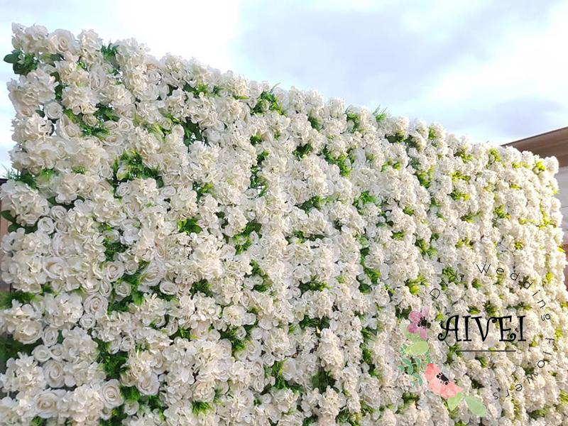 Plant wall artificial flower Backdrop Decorative Birthday Party Silk White Hydrangea and Rose flower wall Wedding Decoration Backdrop