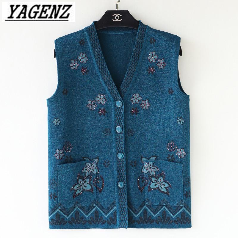 1832c663e2 2019 Grandma Knitwear Sweater Vest Jacket Plus Size 5XL Spring Autumn  Sleeveless Women S Knit Cardigan Coat Loose Top Women Clothing From  Saltblue