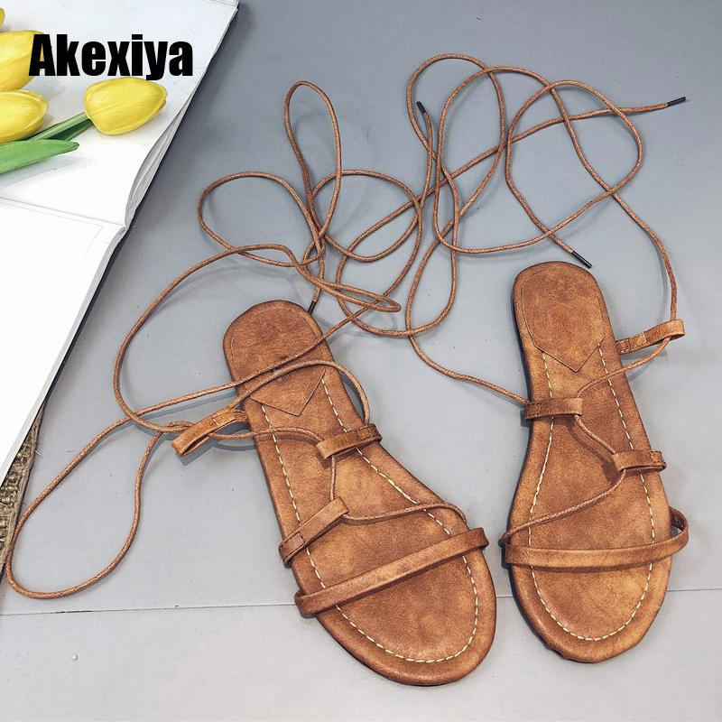 261fbed7fc75 2018 New Women Sandals Gladiator Casual Lace Up Flat Sandals Fashion Women  Cross Tie Ankle Strap Flat Heel Summer M595 Skechers Sandals Sexy Shoes  From ...