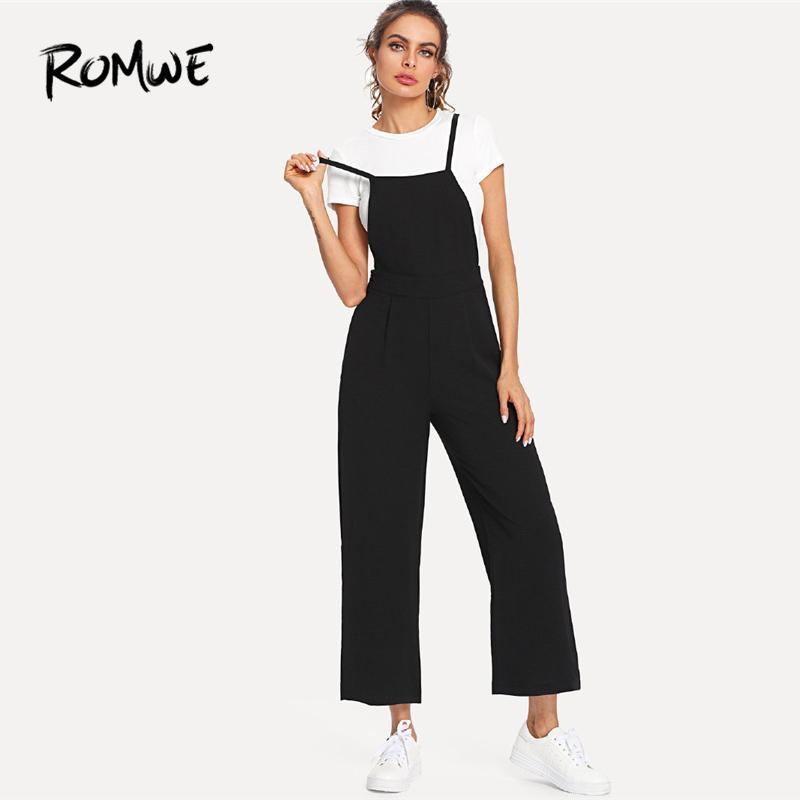 choisir authentique États Unis vente en ligne ROMWE Slip Globale Noir Long Pantalon Femmes Bretelles Sans Manches Taille  Moyenne Large Leg 2018 Été Femelle Plain Casual Jumpsuit