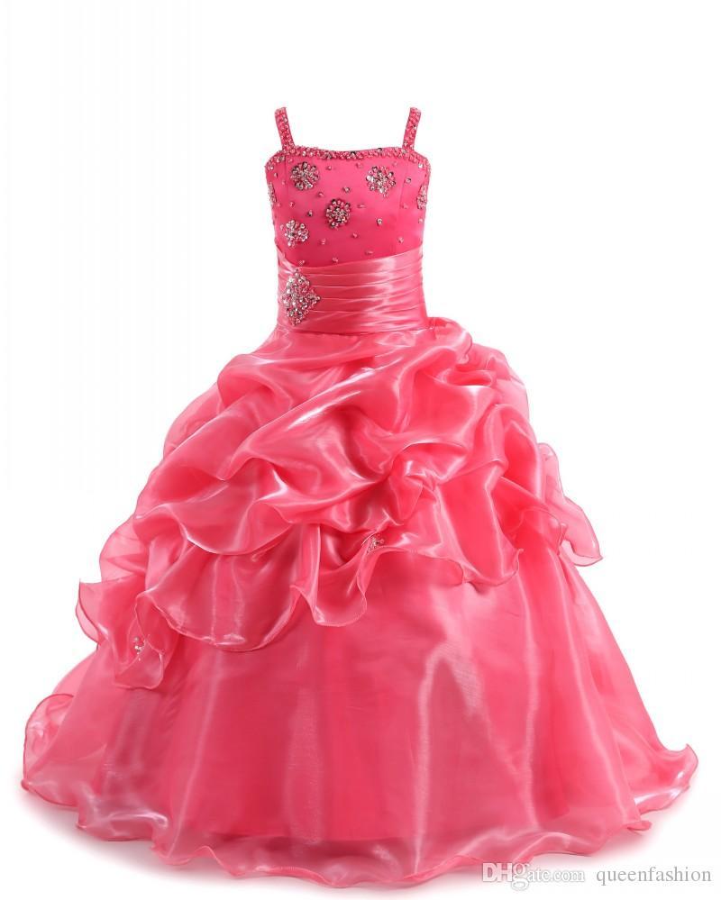 2020 Girls Pageant Dresses Spaghetti Straps Crystal Rhinestone Ball Gown Prom Dress for Kids Children Flower Girl Dresses