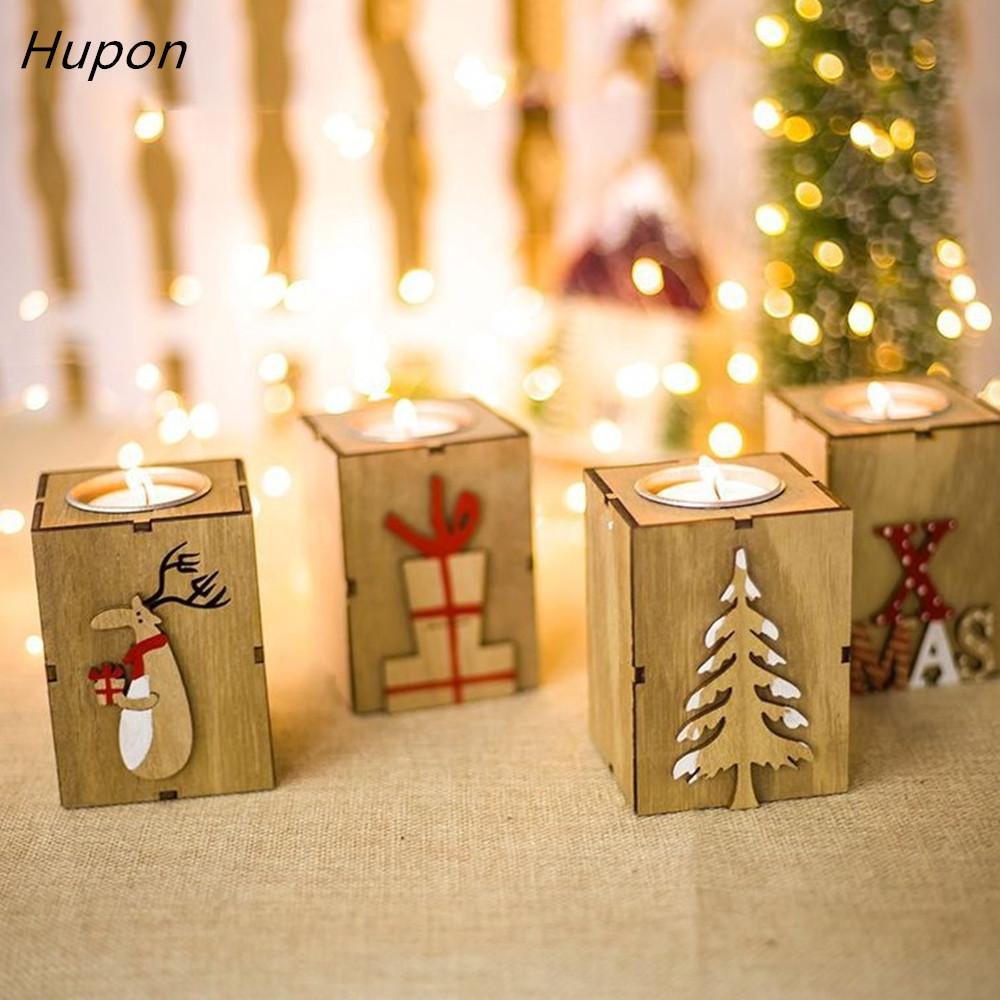navidad 2018 wood candle holders tealight candlesticks lantern vintage christmas decorations for home new year party decor gifts y18102609 christmas