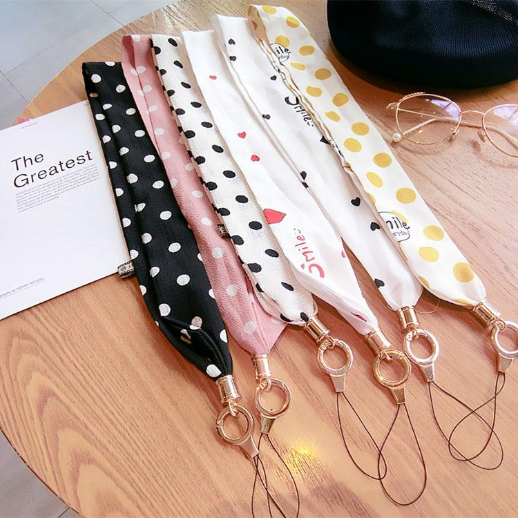 Cell Phone Straps Lanyard Necklace Chain String Scarves Wide Version Hanging Neck Rope National Wind Long Rope Silk Lanyard
