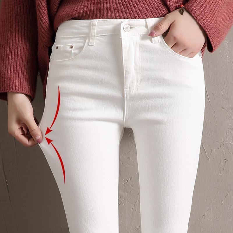 f77d95c9be571 Acheter LYJMTDBK Pantalon Blanc Pour Femme Pantalon Crayon 2018 Printemps  Et En Automne Pantalon À Poche Boutonnée Femme Taille Haute Pieds  Élastiques De ...