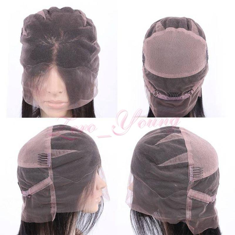 Perruques perlées complètes sans dentelle péruvienne avec des cheveux de bébé blanchies à la forme de noeuds