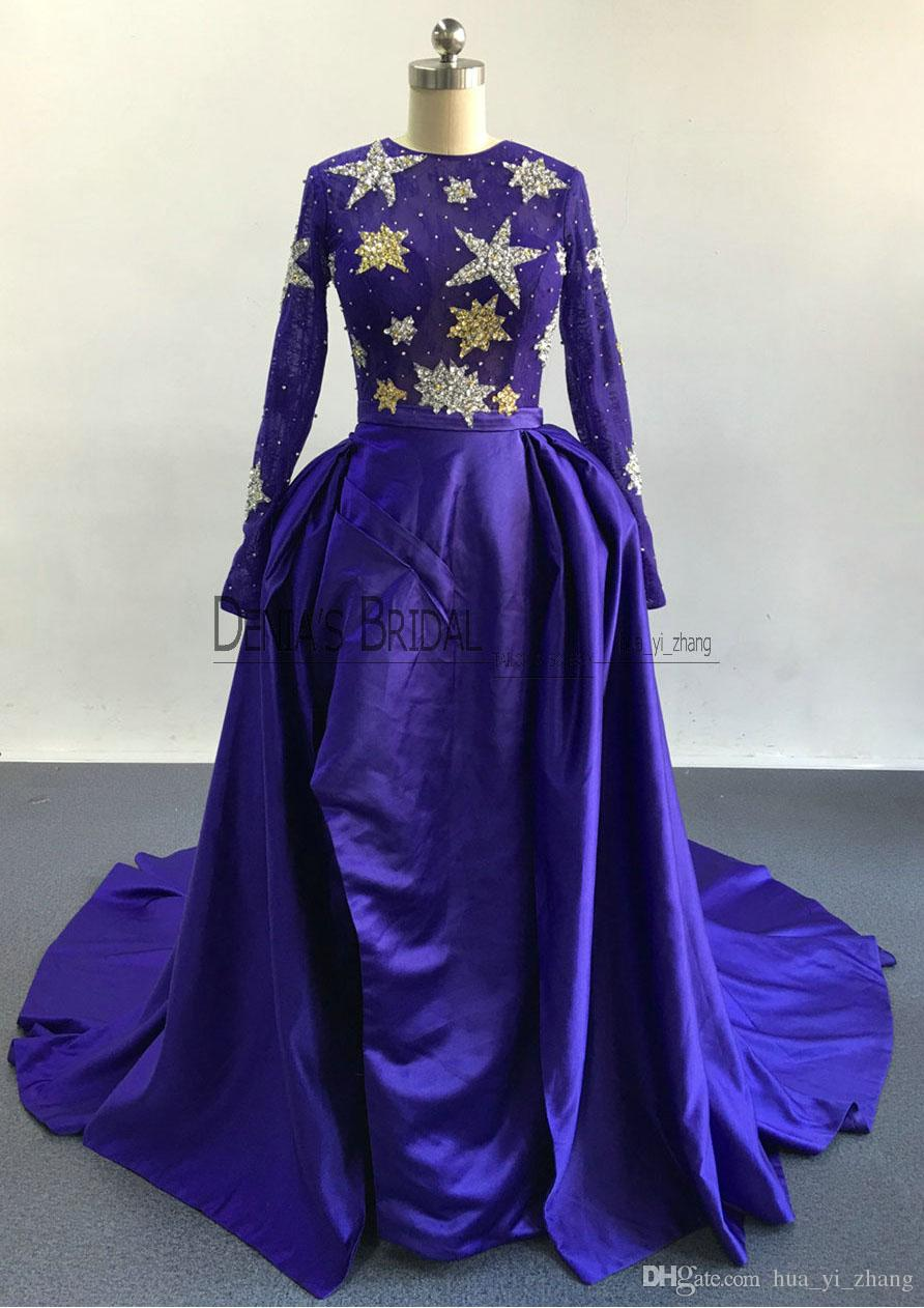 2017 Zuhair Murad Evening Dresses Sheer Star Sequined Top Ball Gowns Court Train with Long Sleeves and High Thigh Split Overskirt Prom Gowns