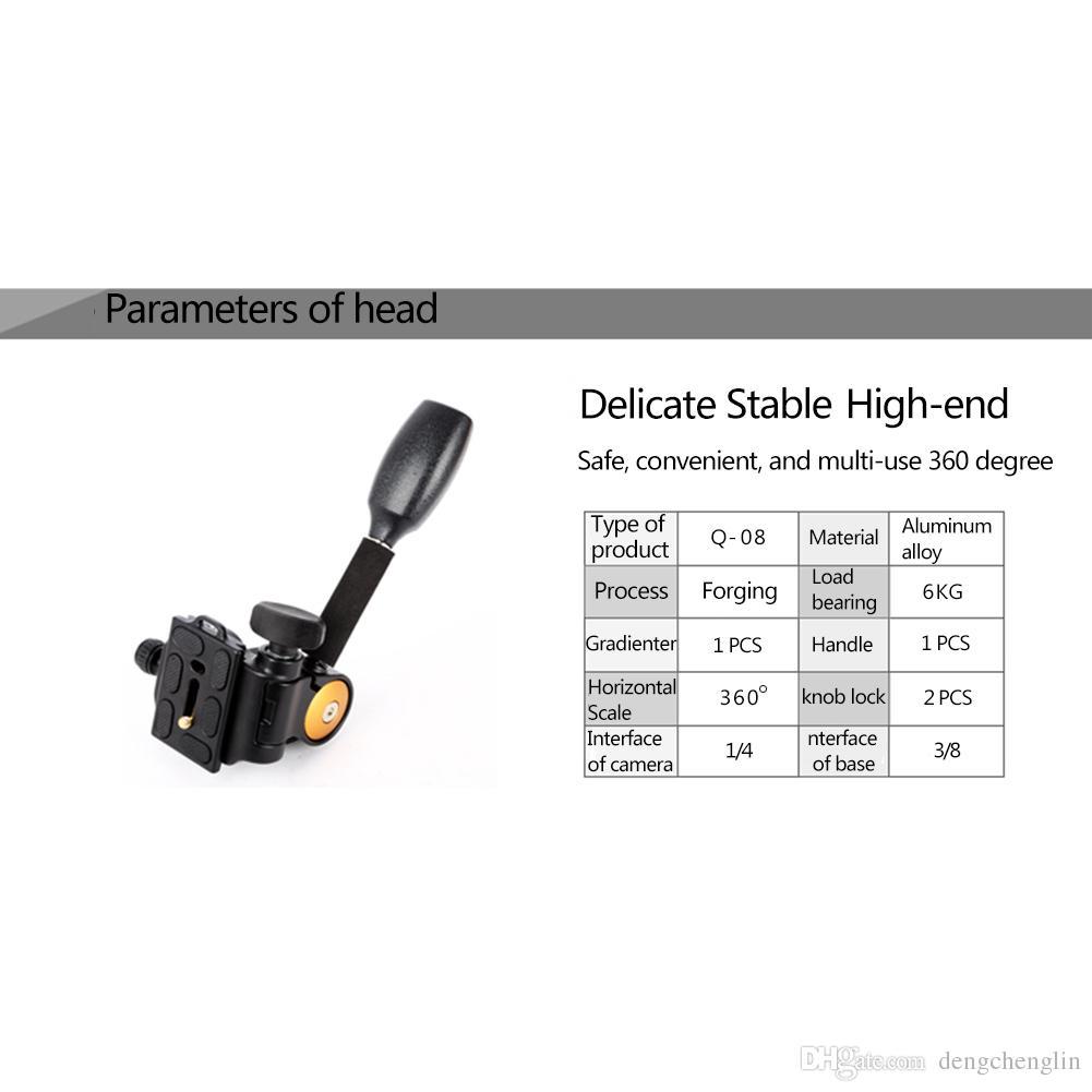 QZSD Q08 Aluminum 3-Way Fluid Head Rocker Arm Video Tripod Ball Head Quick Release Plate for DSLR Camera Tripod Gimbal