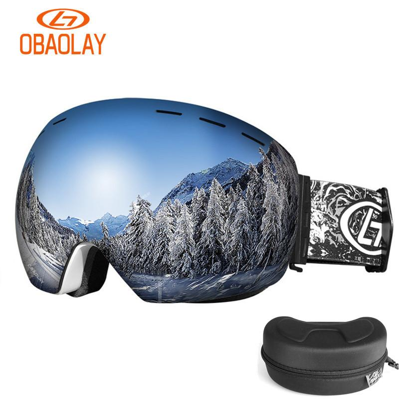 e2c5fffb2cb 2019 Winter Ski Goggle Men Women Snow Goggle Double Layer Lens UV Large  Sphere View Snowboard Skiing Snow Eyewear With Glasses Case From  Yiquanwater