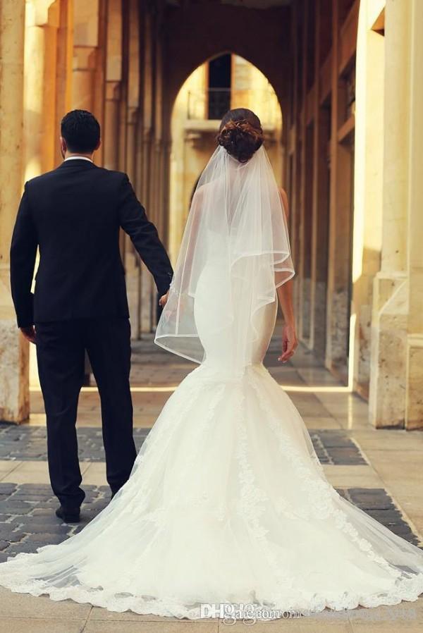 2018 Arabo Vestido De Novia Mermaid Dress da sposa Sweetheart Scollo Scollo senza maniche Appliques Abiti da sposa Corset Back Top Quality