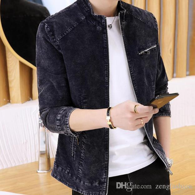 252e98b2570098 Retro Denim Jacket Men Brand New Fashion Zipper Jackets Male Korean Version  Casual Trend Slim Fit Stand Collar Coats Clothes Coat For Man Leather Jacket  ...