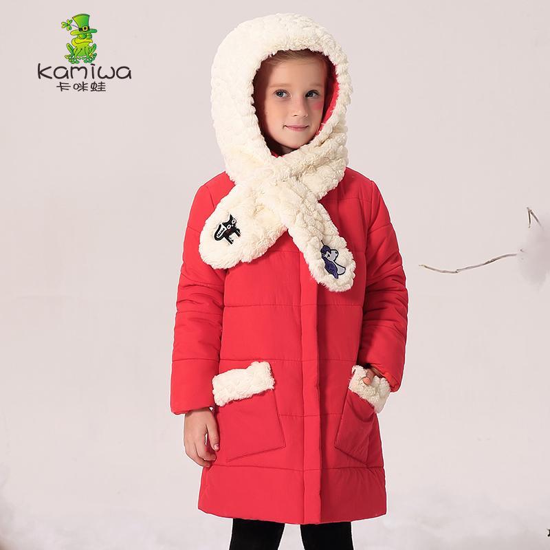 Enfants veste vêtements d'extérieur moyen-long enfants avec capuchon 2017 enfant épais coton-rembourré veste fille manteaux d'hiver