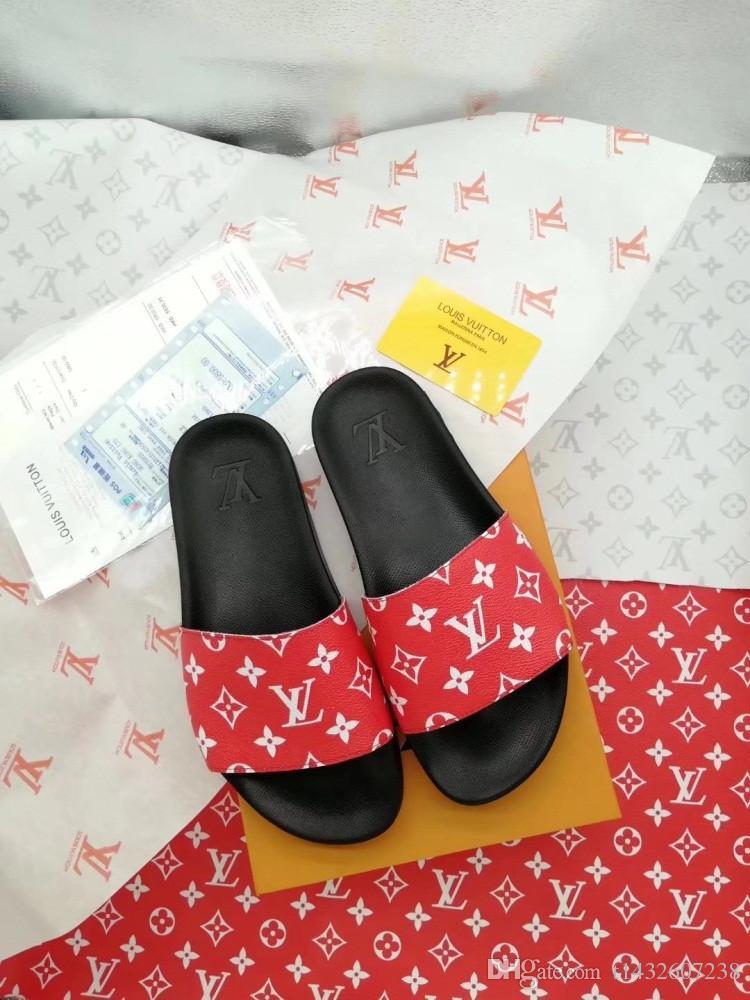 5c0c2314818 2018 Designer Slides Luxury Brand Women Men Sandals Luxury Slippers Flip  Flops Rihanna Ace Womens Mens Sandals Non Slip Designer Slippers Boots  Online ...