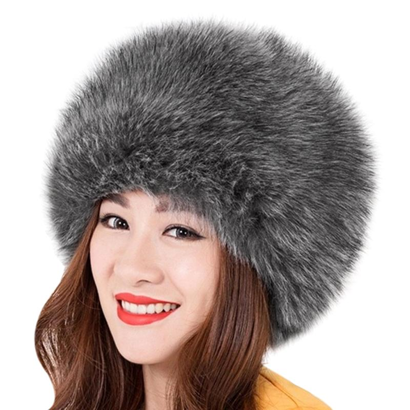 Elegant Women Fur Hat New Women s Winter Warm Soft Fluffy Faux Fur Hat  Russian Cossack Beanies Cap Ladies Ski Hats Bonnet Beanie Hats For Men  Black Beanie ... 96e3ee3c64f