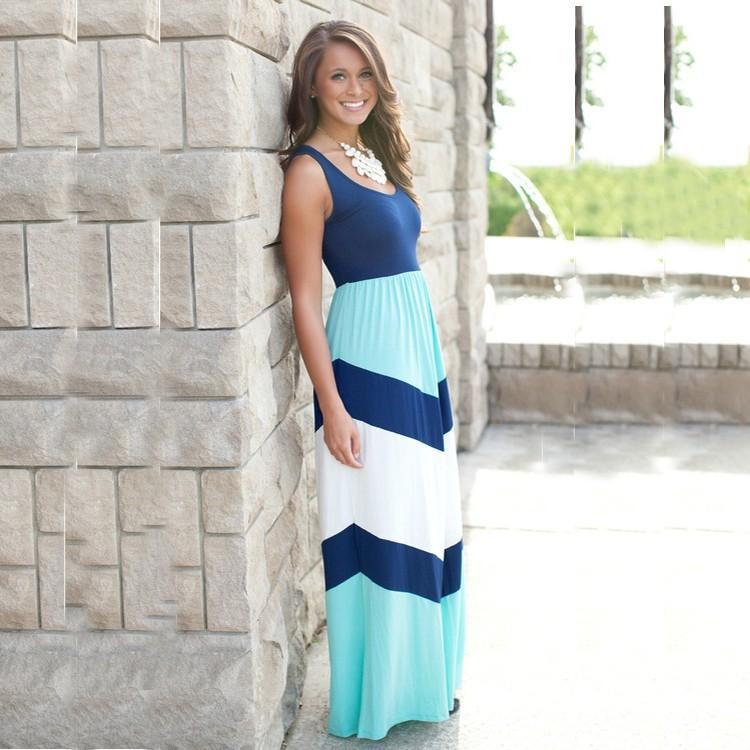 INS Hot Maman et Fille Tenues Maman et Moi Famille Correspondant Mère Fille Robes Sans Manches Patchwork Longue Robe 5 Styles M047