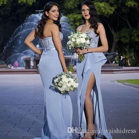 라이트 라일락 레이스 사이드 분할 신부 들러리 드레스 아가 백리스 공식 파티 칵테일 가운 아플리케 명예 웨딩 게스트 드레스의 하녀