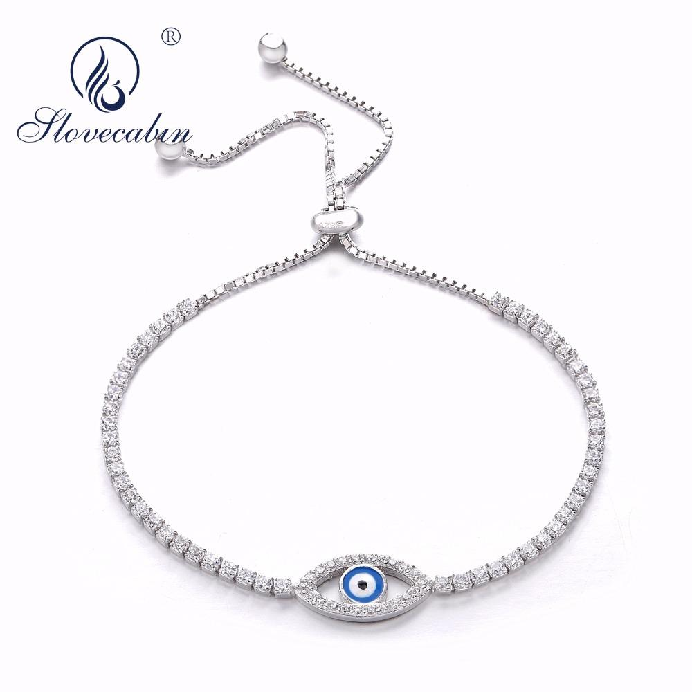 Slovecabin Turkish Lucky Real 925 Sterling Silver Tennis Blue Eye Bracelet  Sparkling Strand Evil Eye Charms Bracelet For Women