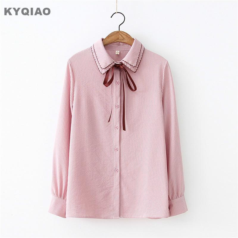 9510070bb KYQIAO Lolita camisa uniforme escolar japonés blusas mujer de moda 2018  mori niñas otoño invierno dulce blusa de bowknot de manga larga