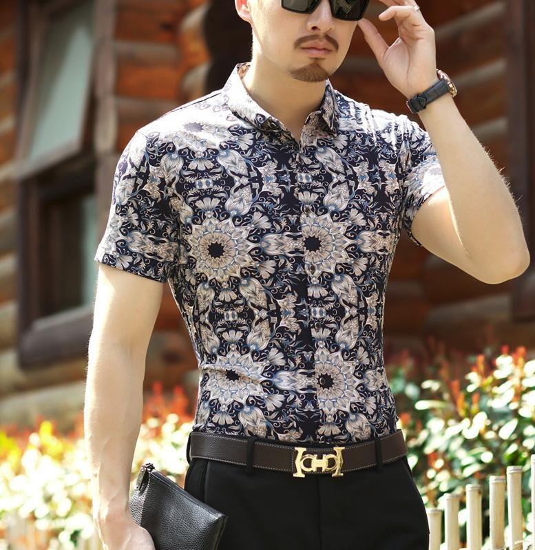 ef18d6e8fa5f Summer Mens Fashion Flower Print Shirts Men Short Sleeve Sexy Silk Cotton  Business Shirt Soft Slim Thin Floral Dress Shirt
